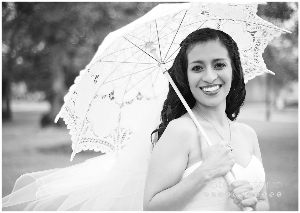 University of Houston Wedding Bride with Parasol