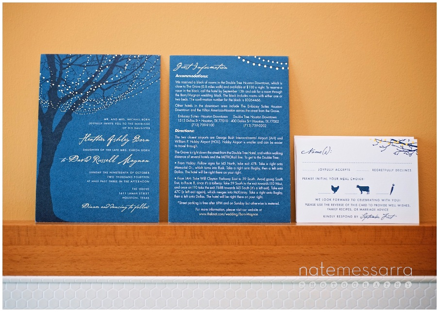 Romantic Invitation Set for The Grove Wedding in Houston