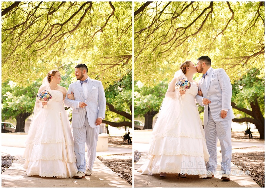 St Arnolds Houston Southern Wedding Style Seersucker Suit and Southern Wedding Dress